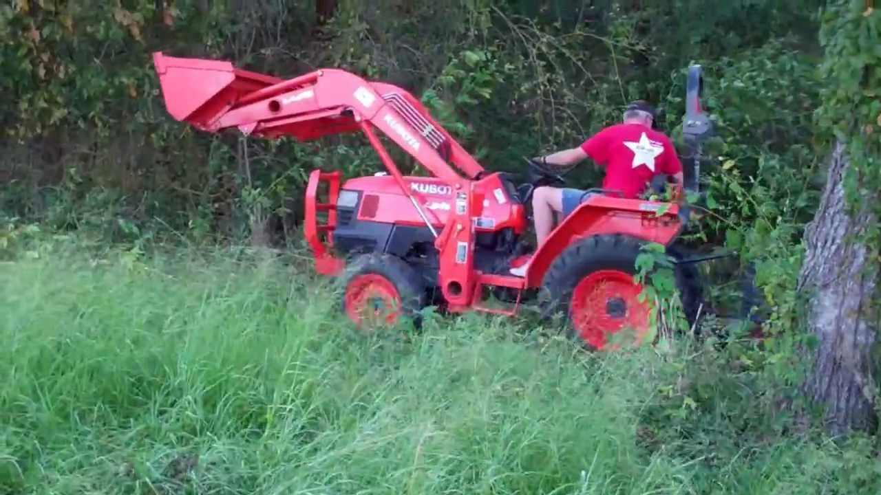 Mowing Weeds With Kubota L3400 Tractor