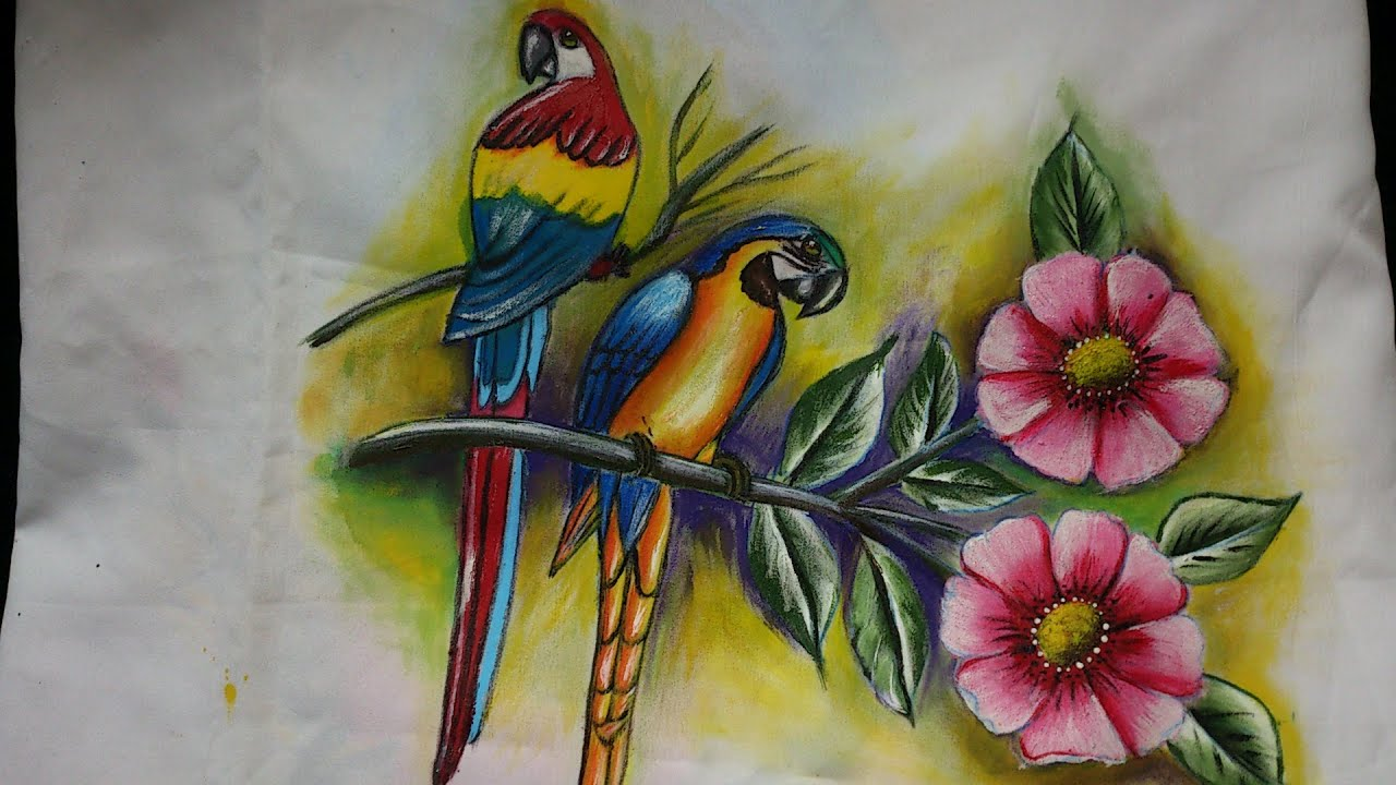 Fabric painting- Birds and flowers painting-part-2-leisha ...