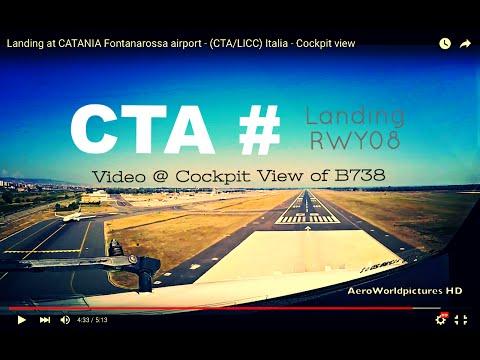 Landing @ CATANIA - Fontanarossa airport (CTA/LICC) Italia # Cockpit view - RWY08