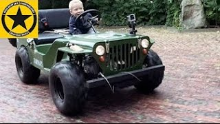 CHILDREN JEEP 3-year old Boy drives gasoline powered JEEP like crazy!