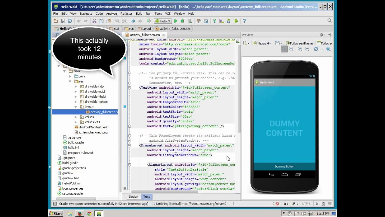 Windows: Building a Simple Application Using Android Studio - YouTube
