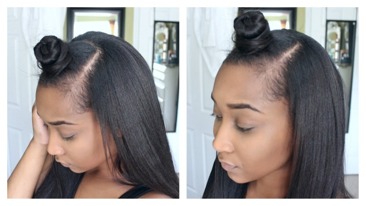 top ninja bun style with knappy clip in extensions - youtube