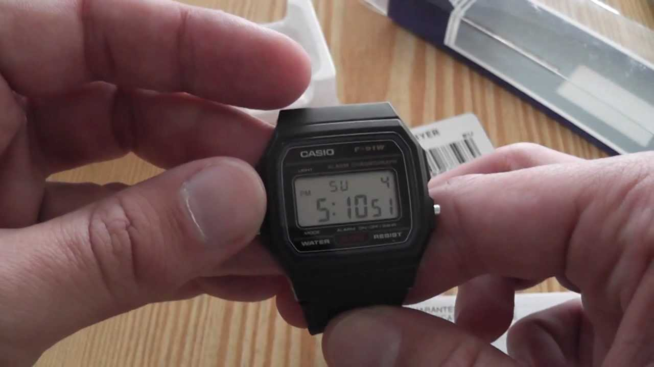 1fab4e5e4b75 CASIO Mens digital watch F91W-1YEF unboxing + first check - YouTube