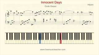 "How To Play Piano: Code Geass ""Innocent Days"" Hitomi Piano Tutorial by Ramin Yousefi"