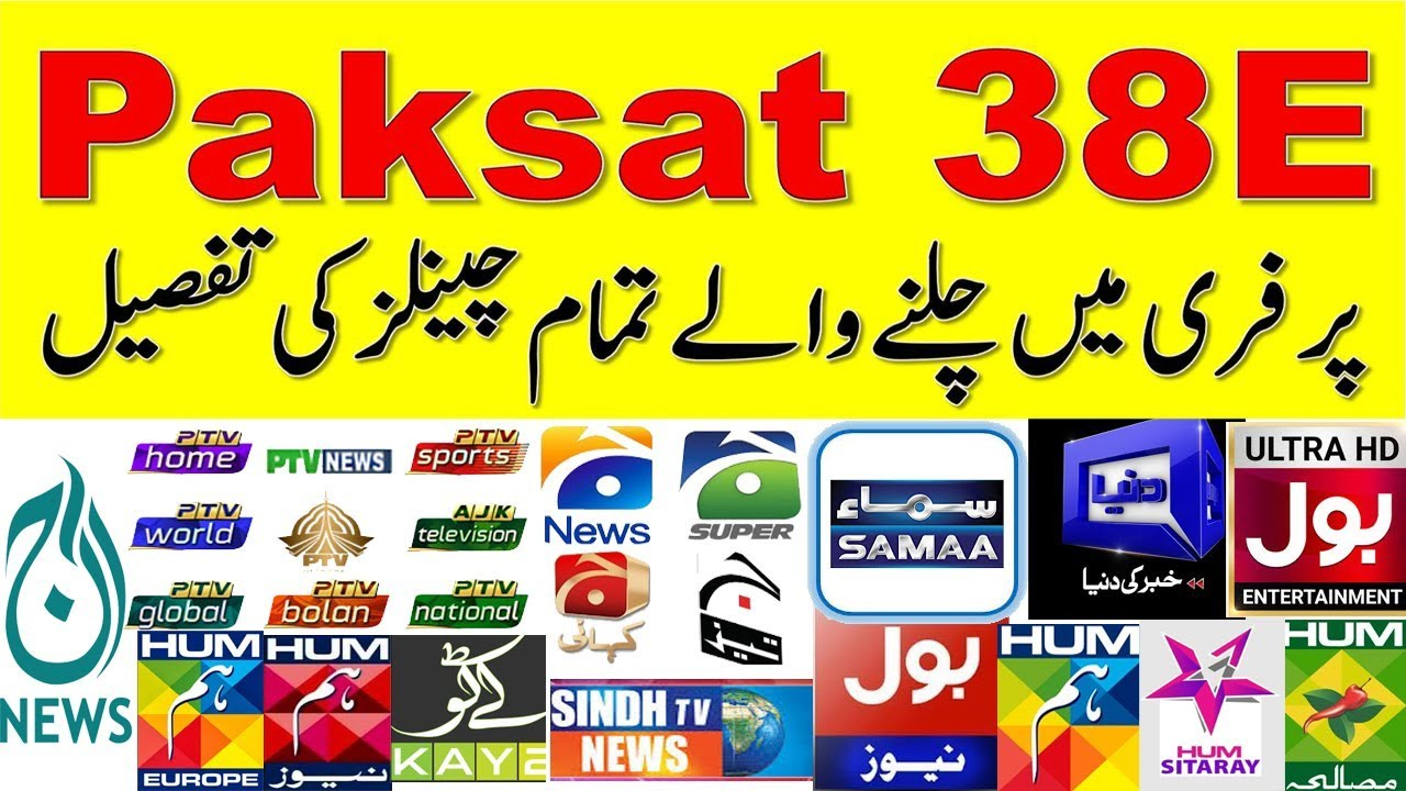 Paksat-1R 38East Complete Channel List With Frequency's
