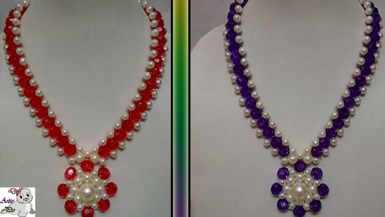 80 How To Make Pearl Beaded Necklace Diy Jewellery