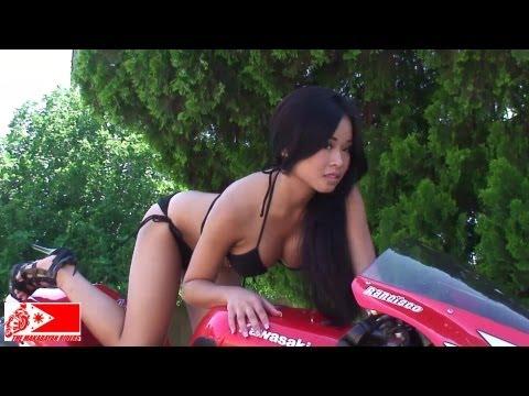 Kawasaki NINJA ZX6R 636 + A Super Sexy Asian Girl! Smokin Hot!