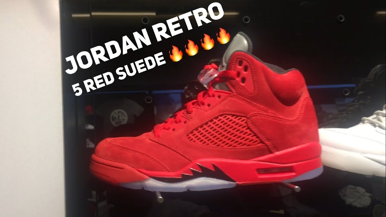 brand new 11d26 bab11 AIR JORDAN RETRO 5 RED SUEDE  UNBOXING   ON FEET REVIEW