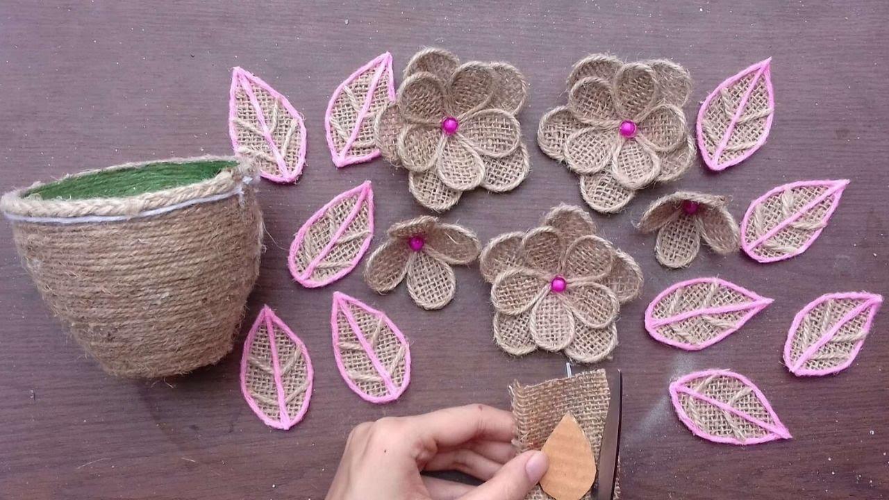 DIY New Room Decor Jute Burlap Craft Ideas || Handmade Stylish Jute Flower With Vase