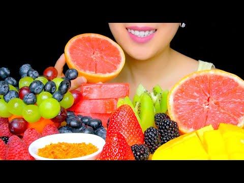 ASMR FRUIT PLATTER (BERRIES, GRAPEFRUIT, FROZEN WATERMELON)| No Talking Eating Sounds | TracyN ASMR