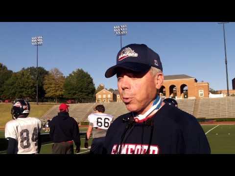 Samford head coach Pat Sullivan at practice, Oct. 23, 2013