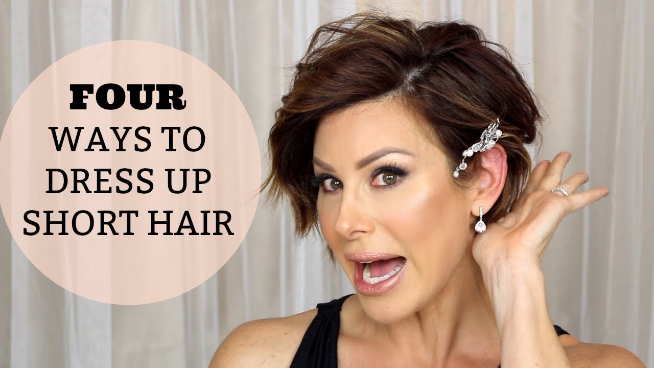 4 Quick Hairstyles To Dress Up Short Hair Youtube