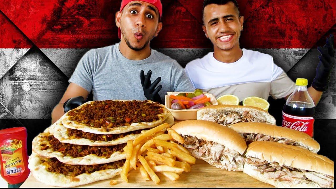 موكبانغ لحم بعجين مع الكص العراقي (الشاورما)والبطاطس|Mukbang Shawarma and Meat Dough