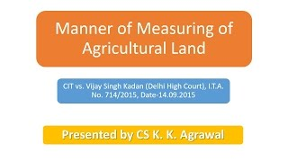 Measuring of Agricultural Land