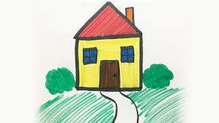 How to draw and color a House -for kids!