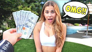 Giving My Girlfriend $100 Every 10 Minutes To See How She Reacts..