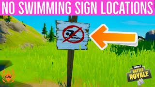 Swim at Different No Swimming Signs! No Swimming sign locations Fortnite! Overtime 8 Ball vs Scratch