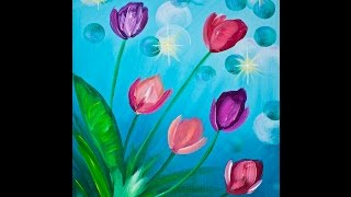 Tulips BEGINNER EASY Acrylic Painting Tutorial