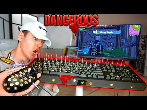 Playing Fortnite With *MOST DANGEROUS KEYBOARD & MOUSE* Challenge Goes Wrong...