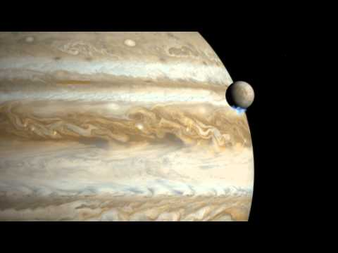 Illustrated fly-by of Europa's plumes (artist's impression)