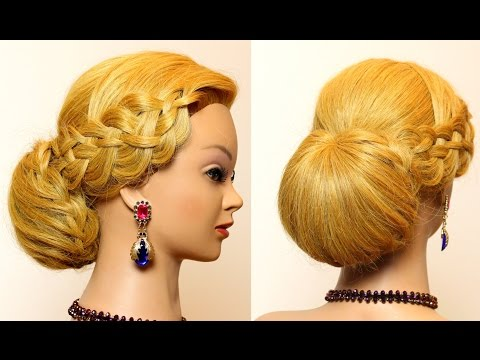 Wedding prom hairstyles for long hair with braids. Bridal updo