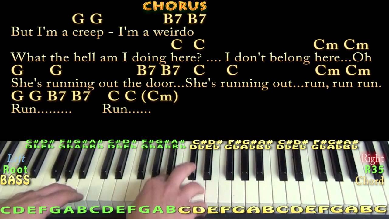 Creep Radiohead Piano Cover Lesson with Chords/Lyrics