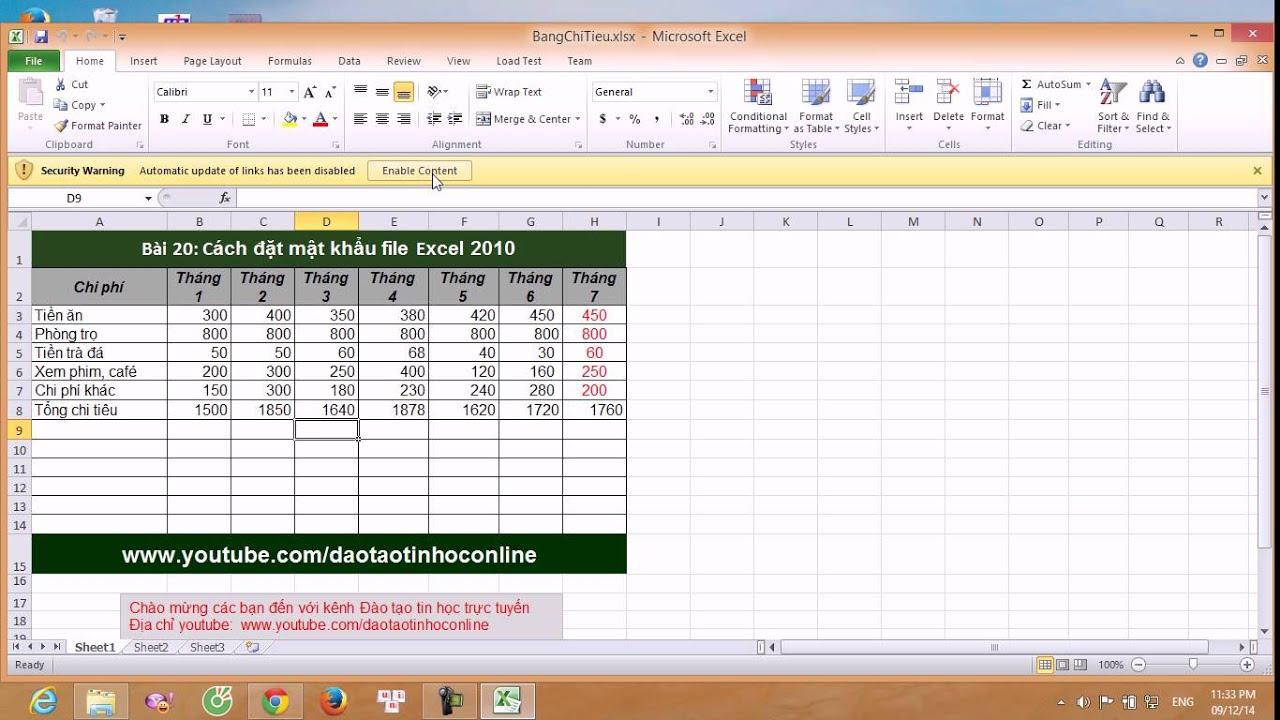 Cách đặt mật khẩu cho file Excel 2007, Excel 2010, 2013