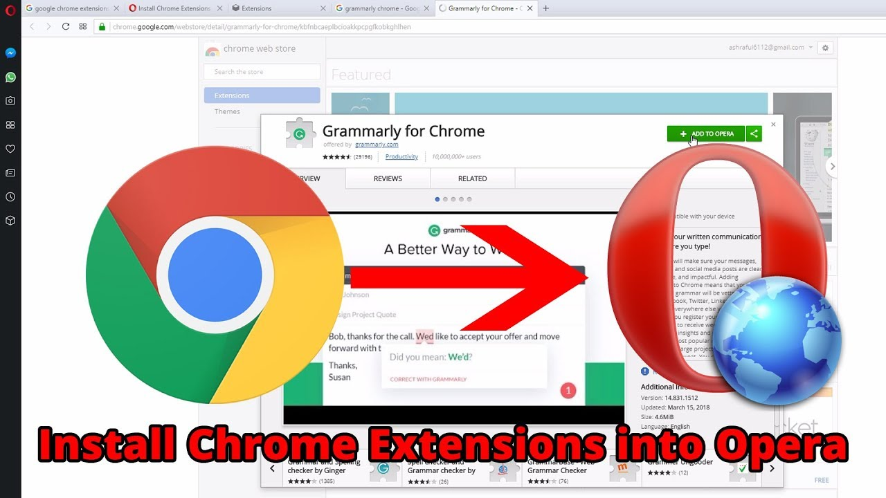 install chrome extensions opera