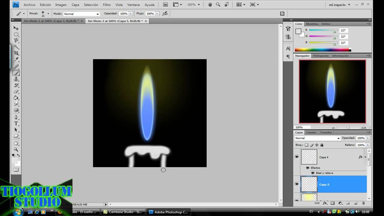 Como crear una llama de Vela -Photoshop cs4- - YouTube