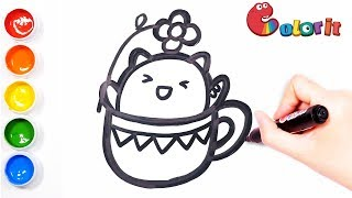 How To Draw Kitten in a cup|Learn Colors for Kids|drawing and coloring|学画简笔画一只杯子里的小猫咪|Color It🌈