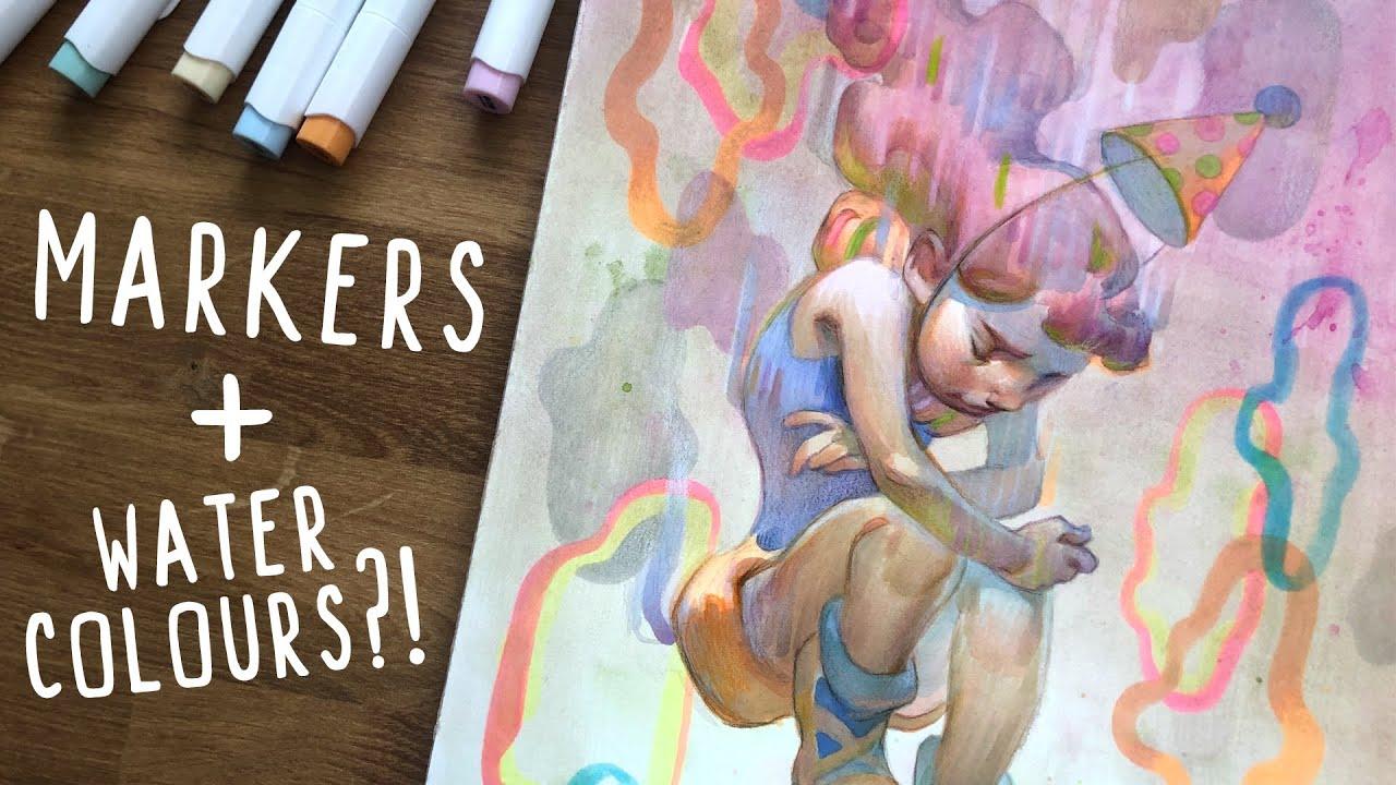 Download Committing Art SIN?!🔥🤭Marker & Watercolour Mix Media Illustration!