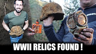 Two helmets found in a four meter deep hole!  ww2