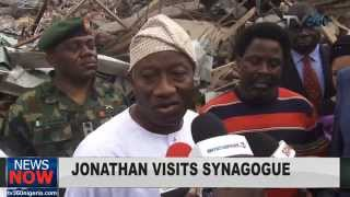 Nigerian President visits Synagogue church collapsed building