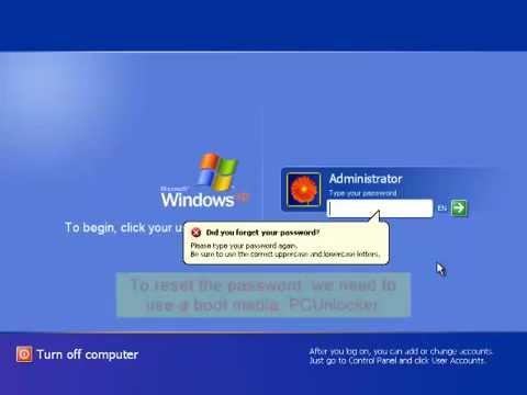Forgotten Windows XP Admin Password Reset