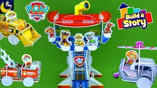 New Paw Patrol Toys Build A Story Lookout Tower Pup Vehicles Marshall Chase Toy Video!