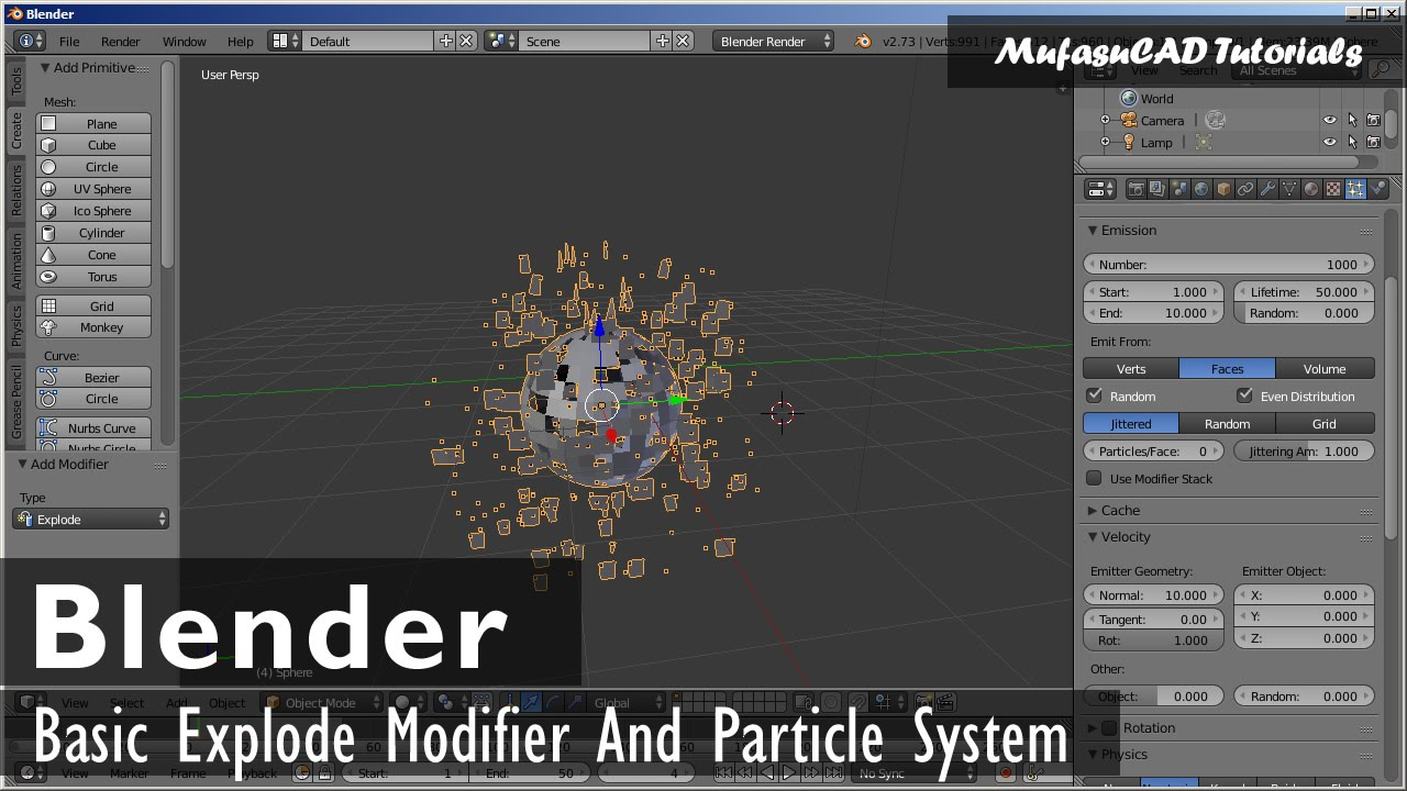 Blender Explode Modifier And Particle System Tutorial