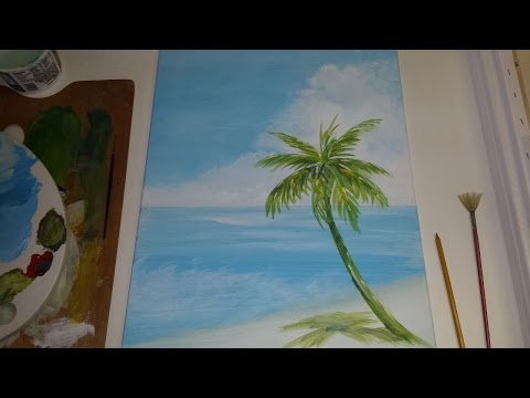 Acrylic Seascape Painting Lesson (Pt 1) – Painting A Beach Scene Background