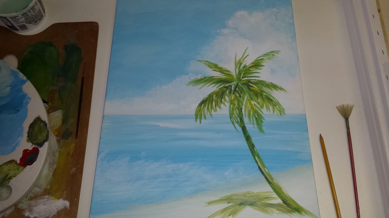 acrylic seascape painting lesson pt 1 painting a beach scene