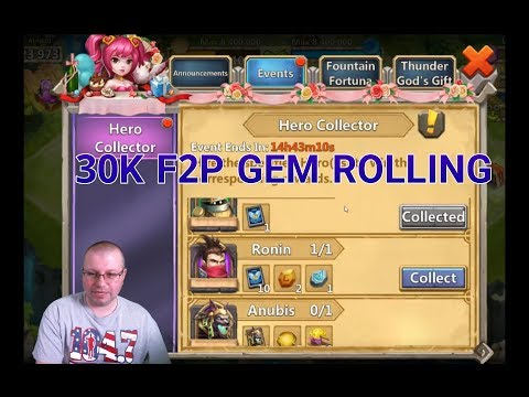 Free To Play 30K Gem Rolling Hero Collector Castle Clash