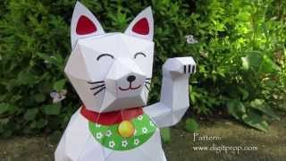 automaton - papercraft - lucky cat - manekineko - tutorial - dutchpapergirl
