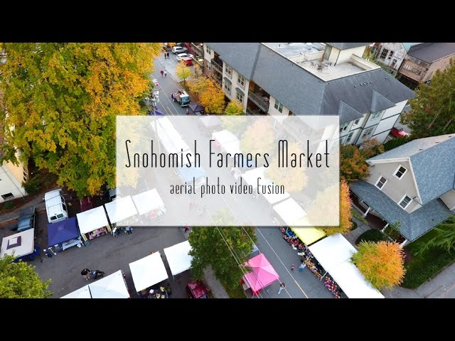Snohomish Farmers Market | aerial photo video fusion