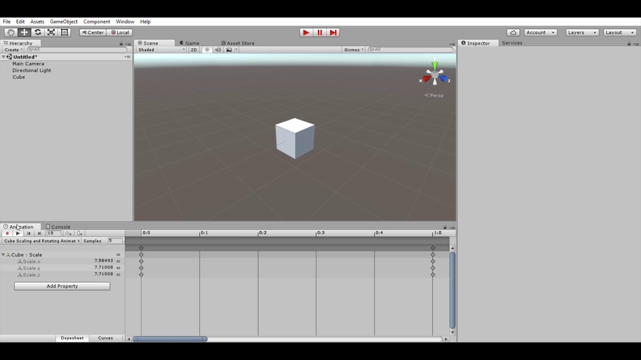 Unity Personal 64bit   Using Animation to scale an object