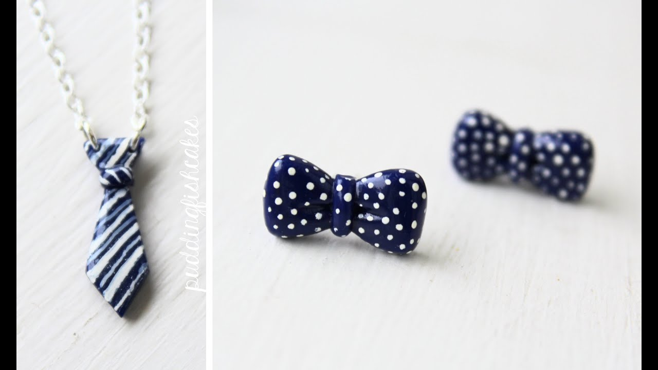 Diy bowtie earrings tie necklace polymer clay tutorial youtube audiocablefo Light database