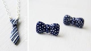 Diy: Bowtie Earrings & Tie Necklace Polymer Clay Tutorial