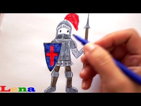 ritter zeichnen - malen für kinder - how to draw a knight for kids - как рисовать рыцаря для