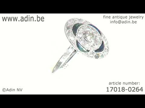 Vintage Art Deco Belle Epoque Diamond And Sapphires Engagement Ring. (Adin reference: 17018-0264)
