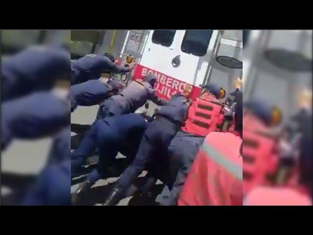 Cicpc detiene a hombre por grabar a funcionarios mientras empujaban unidad bomberil sin gasolina
