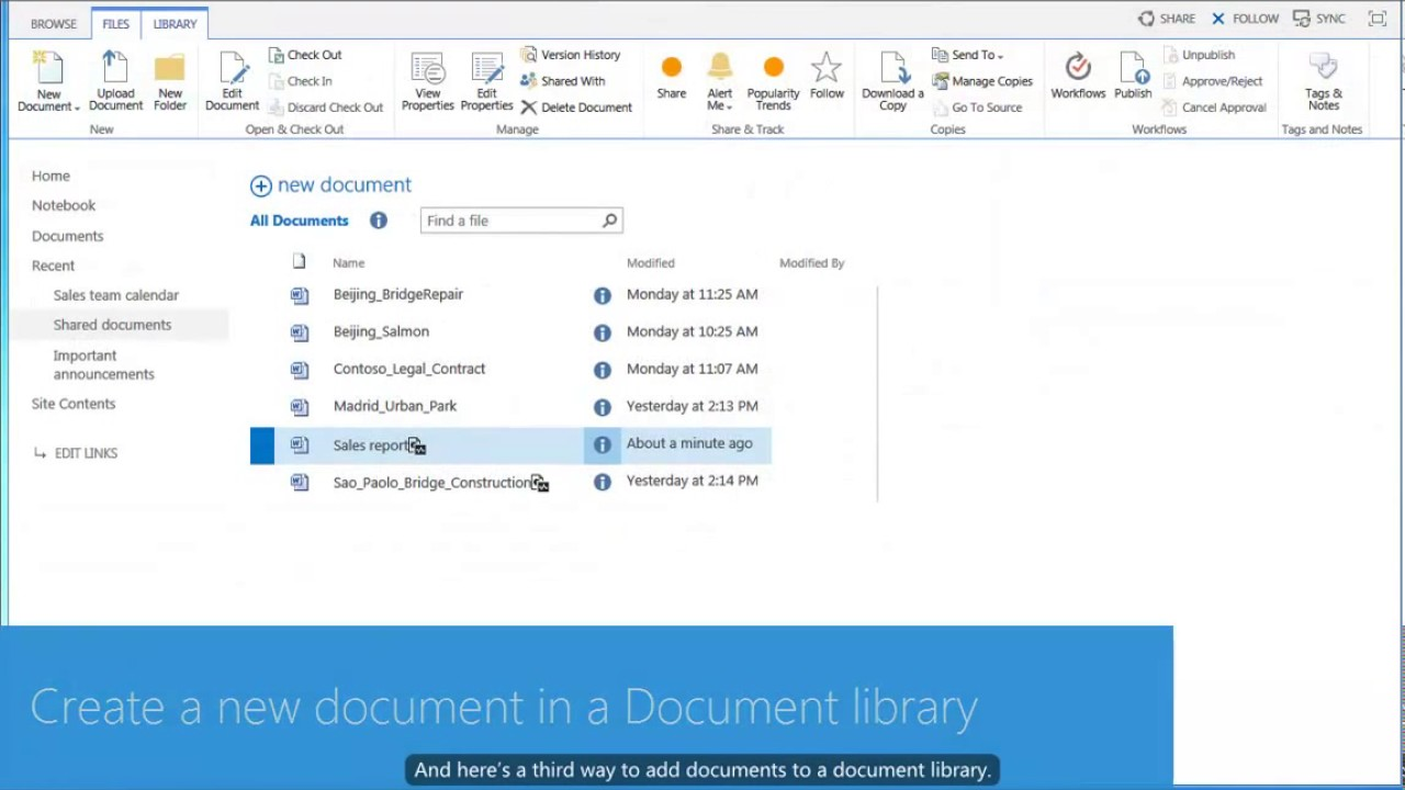 Adding Documents to a SharePoint Online Document Library - YouTube