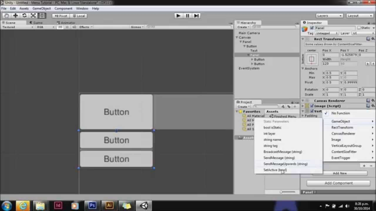 Unity UI drop down menu - YouTube