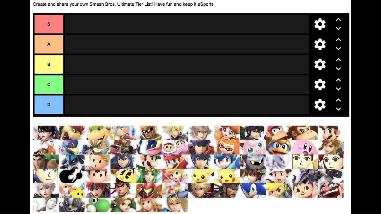 My own Super Smash Bros Ultimate Main Tier List Maker